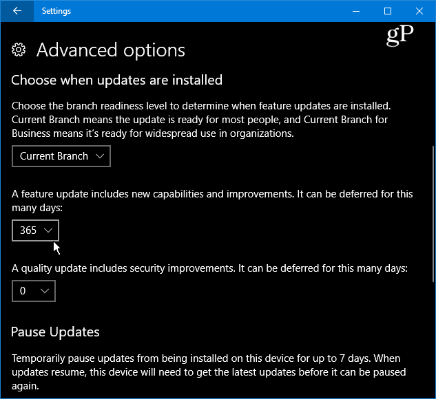Delay Feature Updates up to a Year