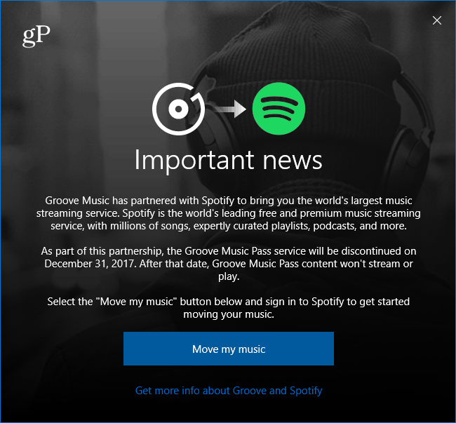 Microsoft Groove Music Moving to Spotify Message