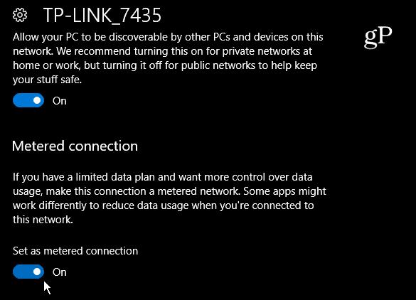 Set Windows 10 Ethernet Metered Connection