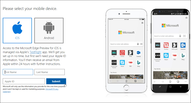 Sign up for Edge Mobile Preview
