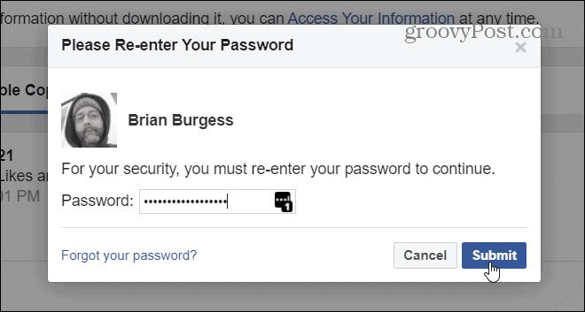 Type in facebook password