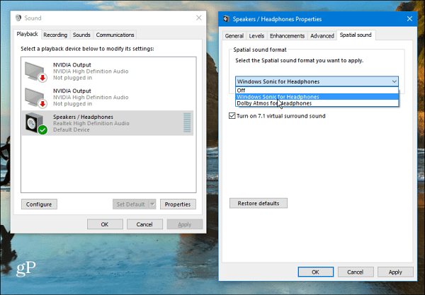 Windows 10 Spatial Sound Setting