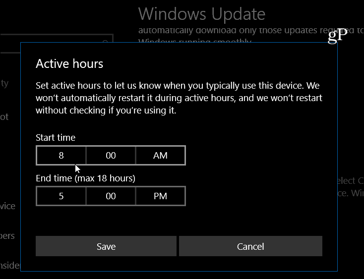 Windows 10 set Active Hours
