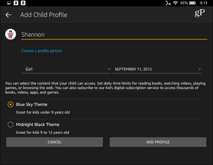 1 Setup Child Profile