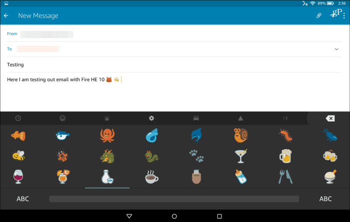 3 Composing Message Fire HD Emoji Keyboard