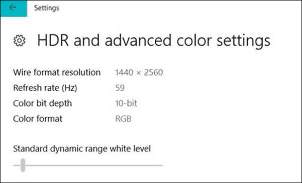 HDR Color Settings