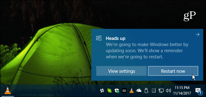 Windows 10 Restart Message