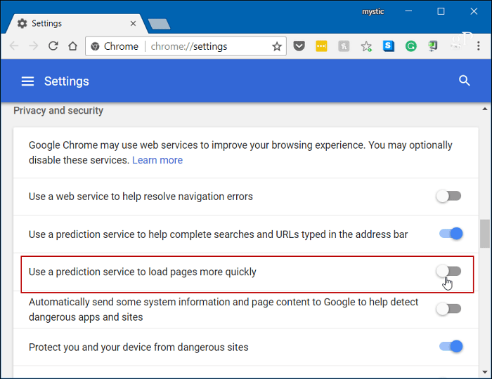 Turn off Chrome Prediction