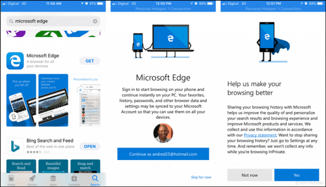 Microsoft Edge hits iOS and Android