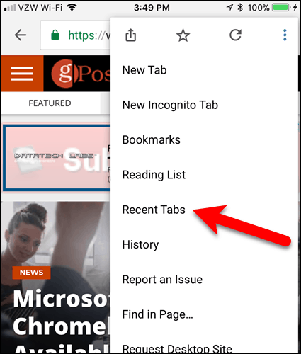 Tap Recent Tabs in Chrome