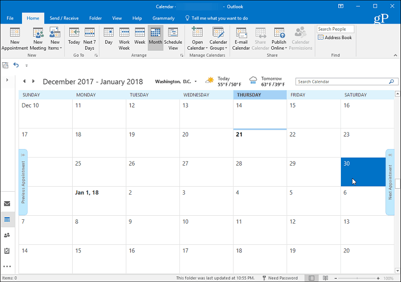1 Outlook Calendar