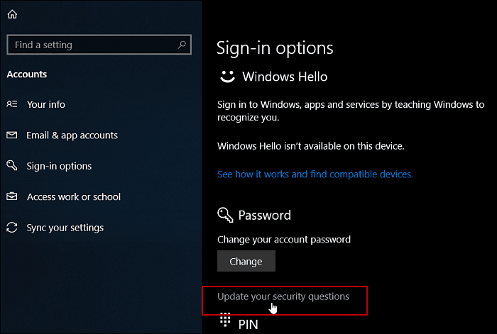 How to Add Security Questions to Local User Accounts in Windows 10