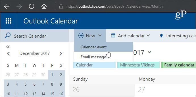5 New Calendar Event