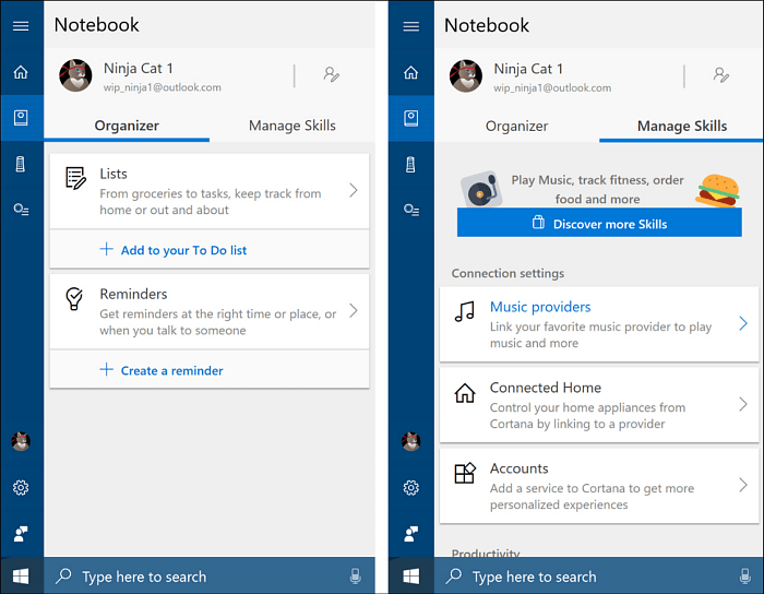 Cortana Notebook Improvements Windows 10 RS4