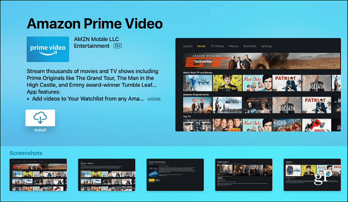 Install Amazon Prime Video Apple TV