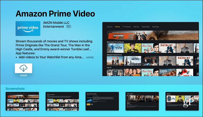 Install Amazon Prime Video Apple TV