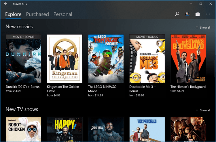 Movies and TV App Windows 10