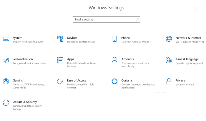 Setting Redesign Win10 RS4
