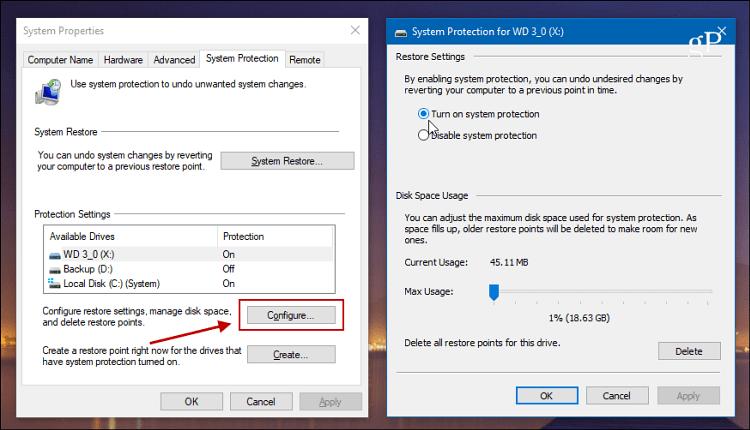 Turn on System Restore Windows 10