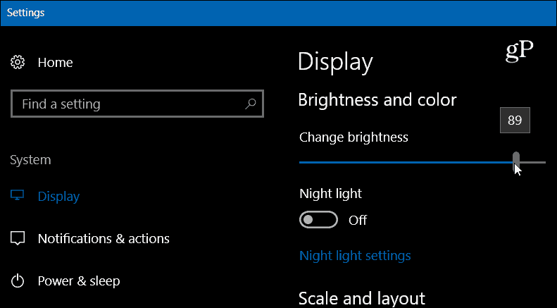 Windows 10 Settings Display Brightness