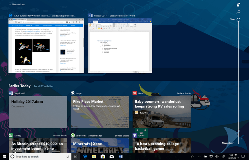 Windows 10 Timeline hero