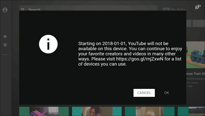 YouTube No Longer Available Fire TV