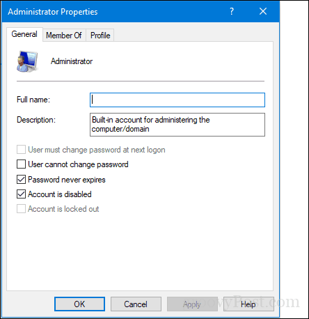 administrator account disabled windows xp