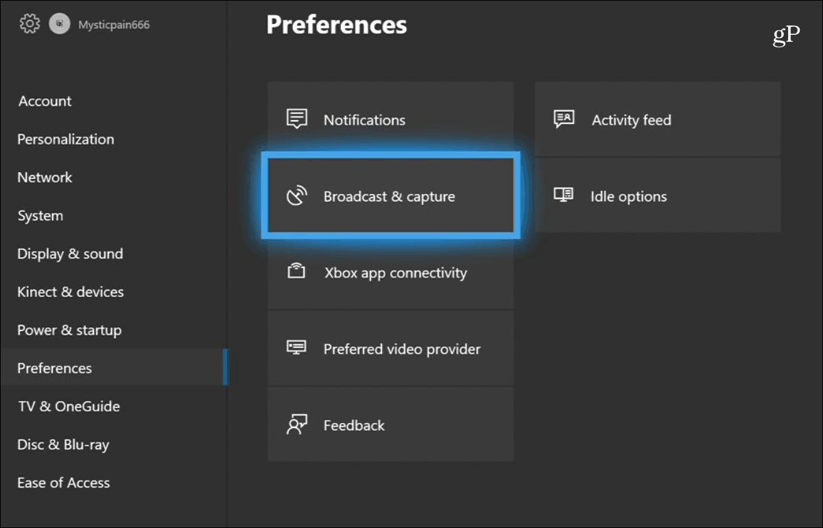 1 preferences Broadcast Capture