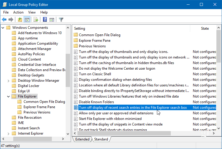 2 group policy editor search box policy