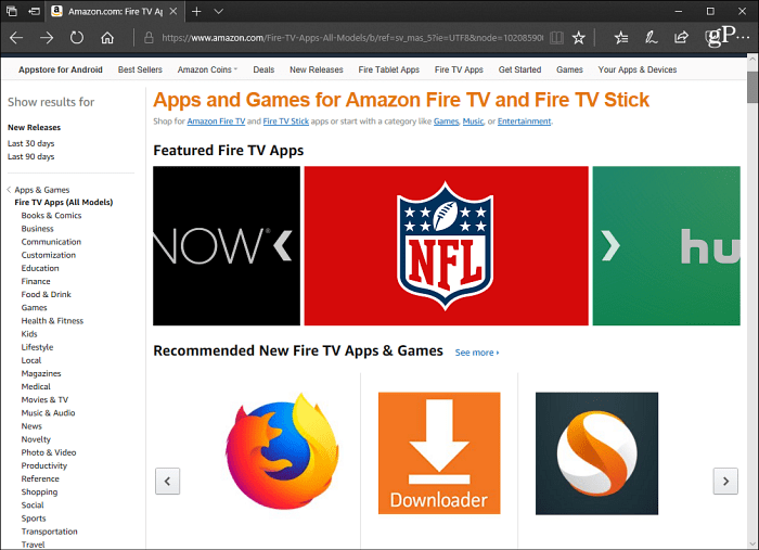 Apps Fire TV Amazon Site