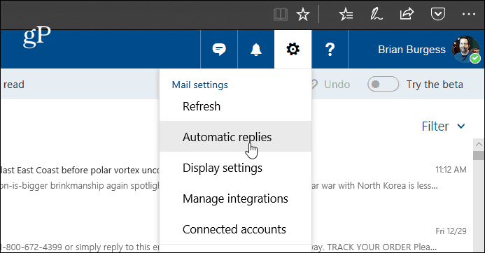 Create Automatic Replies in Outlook com and Windows 10 Mail App