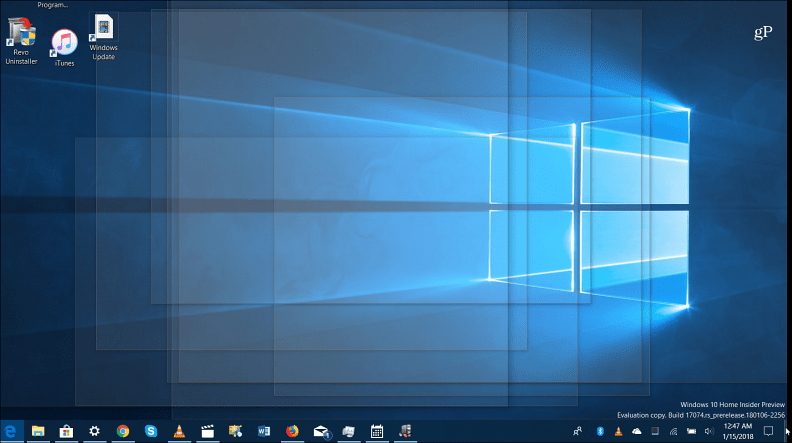 Desktop peek feature Windows 10