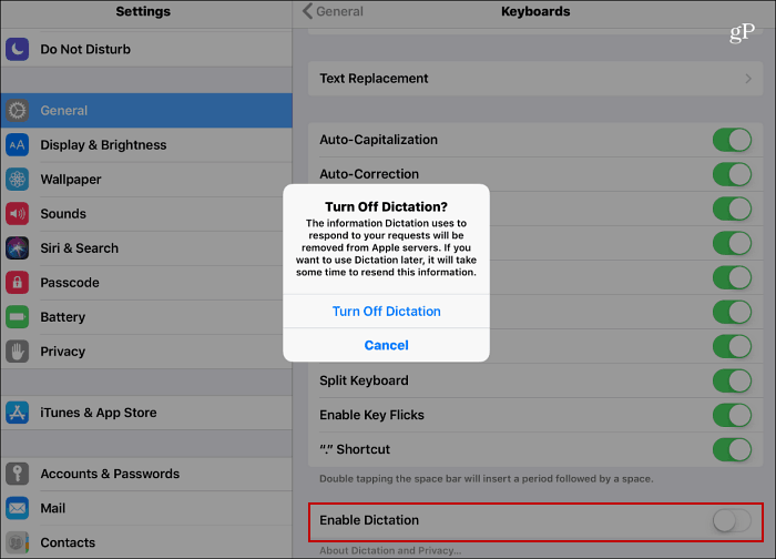 Disable Voice Dictation iOS