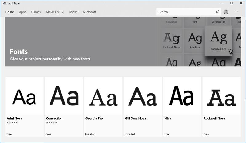Fonts Microsoft Store