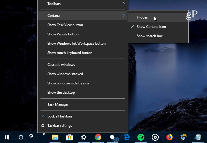 hide Cortana Search Box