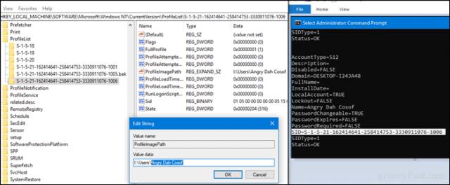 how do i change my user folder name in windows 10