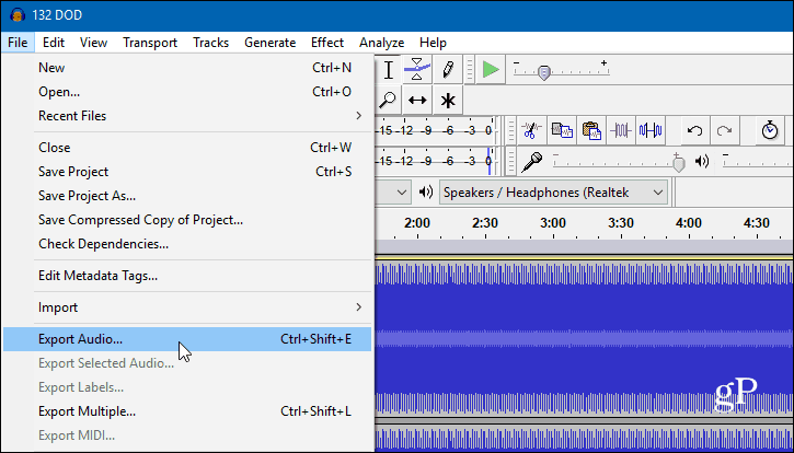 3 Audacity Export Audio