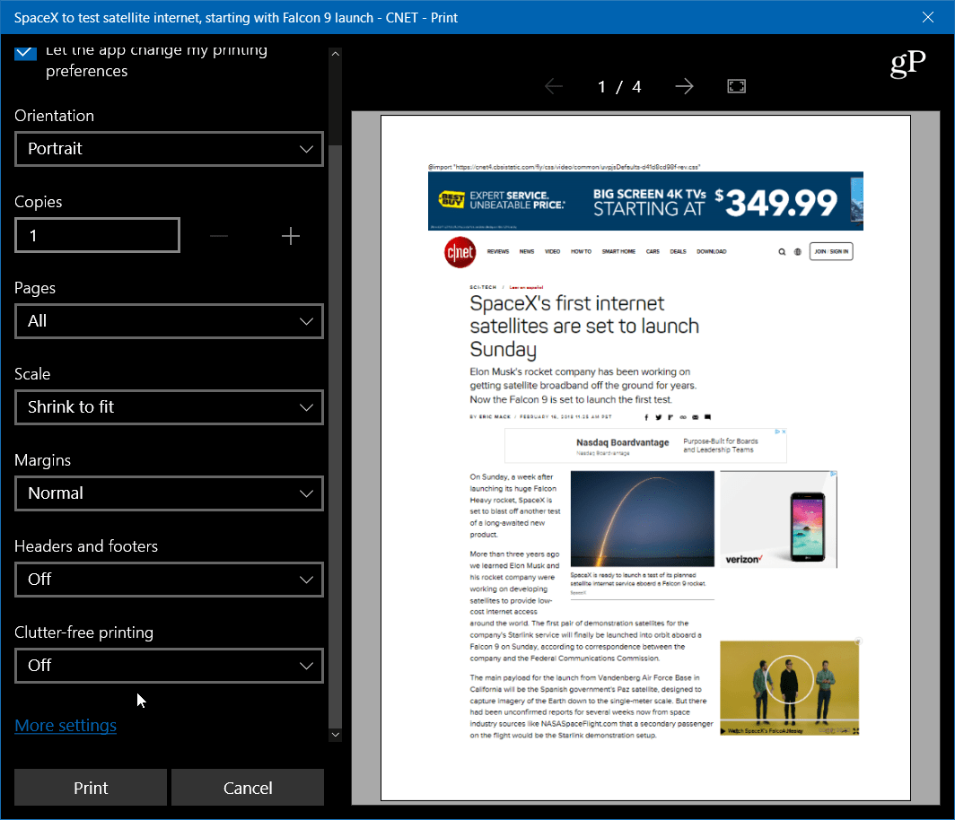 Print Website Articles Clean and Clutter Free with Microsoft Edge