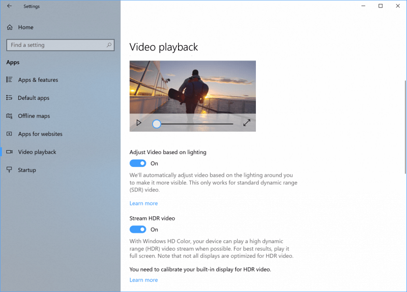 HDR Video Playback Windows 10