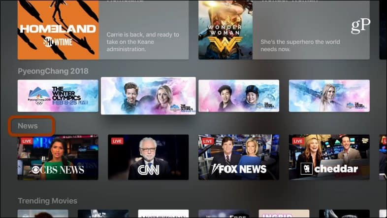News Section Apple TV