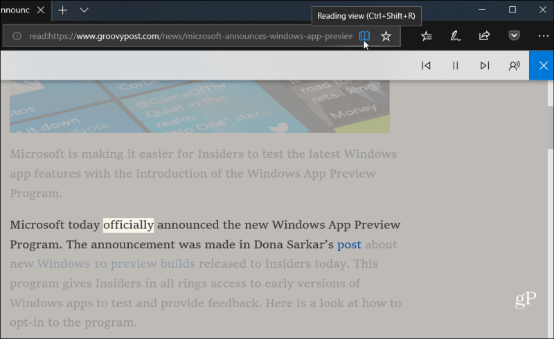 Reading View Microsoft Edge