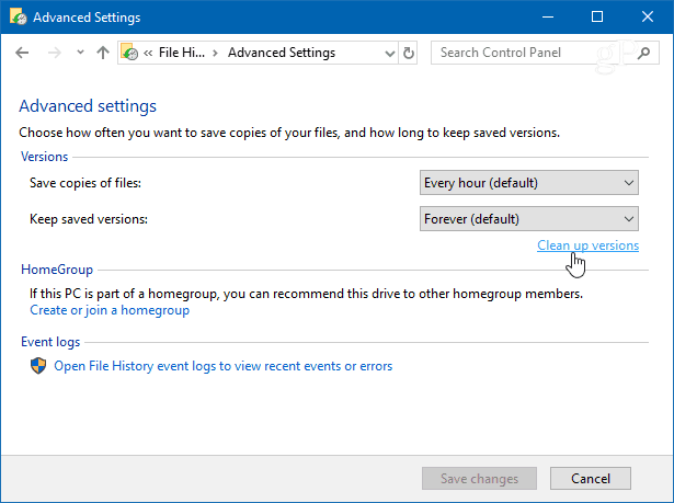 Clean Up Versions Windows 10 File History
