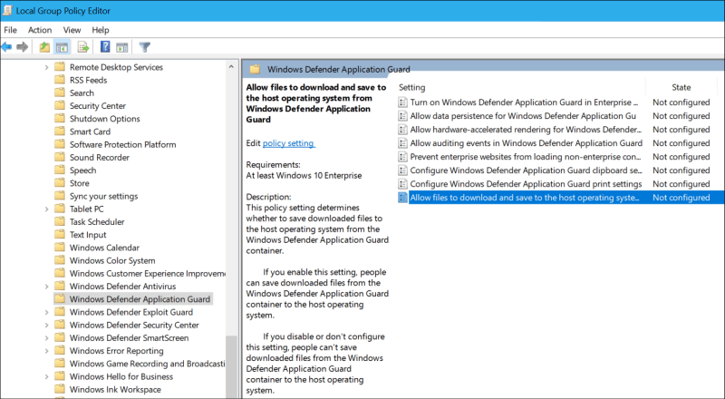 Group Policy Setting WDAG