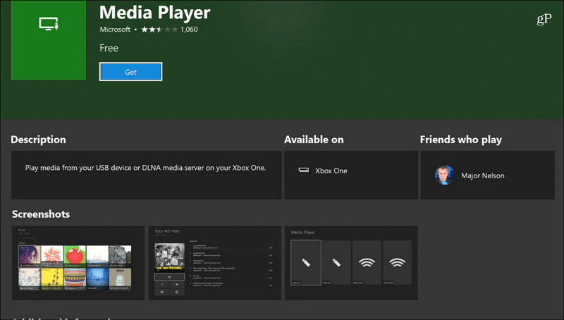 Media Player App Xbox One
