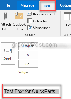 How to Use Quick Parts in Microsoft Outlook 2016