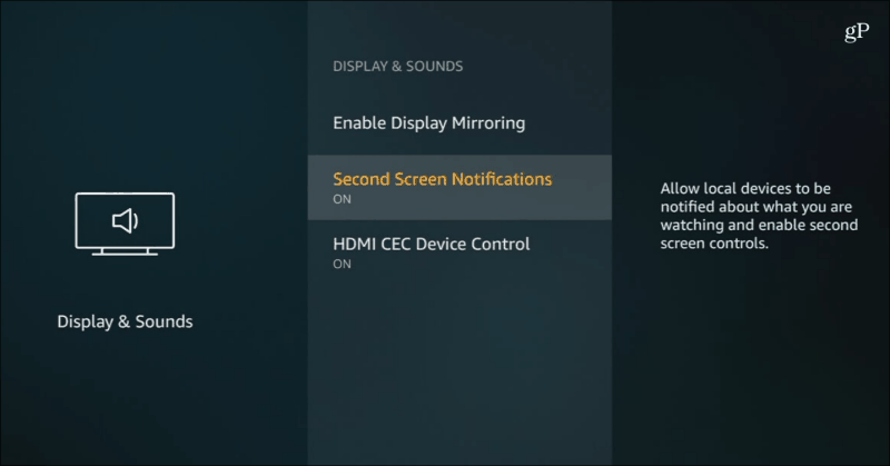 Second Screen Notifications Fire TV
