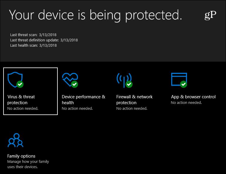 Windows Defender Security Windows 10