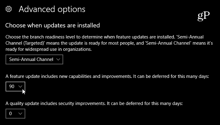 Select delay of Feature Update Windows 10