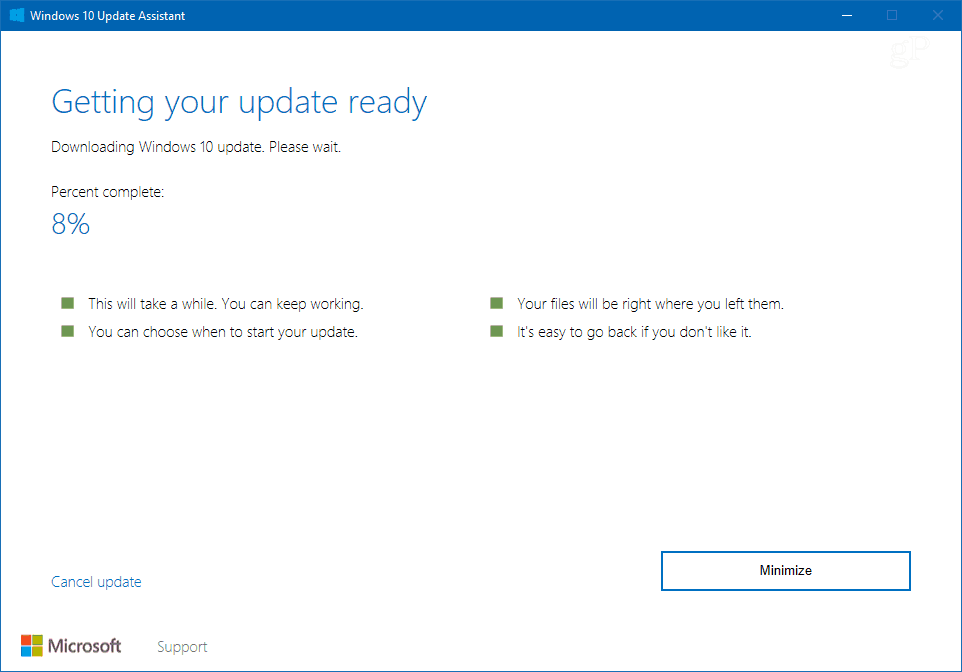 windows 10 update assistant 1803
