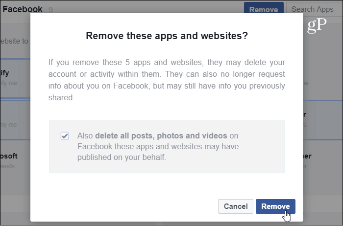 Verify App Website Removal Facebook
